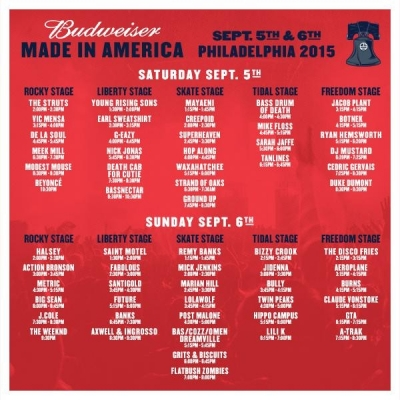 Made in America Festival Schedule/Set Times Released; Guide to Philadelphia Local Bands Playing MIA