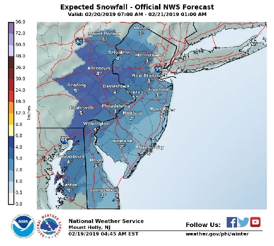 Winter Storm Watch Wednesday 2/21, 3-5 inches. Philadelphia Public and Archdiocesan Schools Closed.
