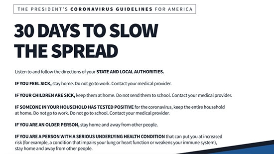Guidelines for America - 30 Days to Slow the Spread of Coronavirus; 100K to 240K Deaths Possible